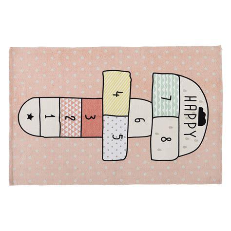 tapis marelle en coton rose    cm happy maisons du monde