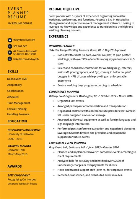 Event Planner Resume by Event Planner Resume Exle Tips Resume Genius