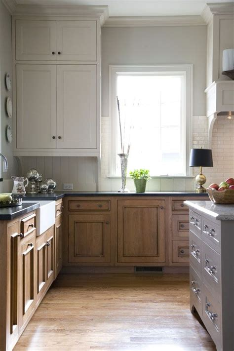 painted or stained kitchen cabinets just the wood and white cabinets stained lower cabinets 7314