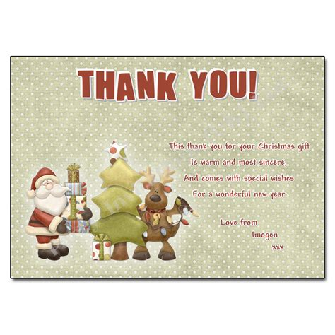 santa rudolph christmas thank you note