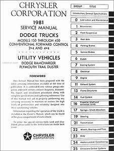1981 Dodge Truck Shop Manual Cd D150