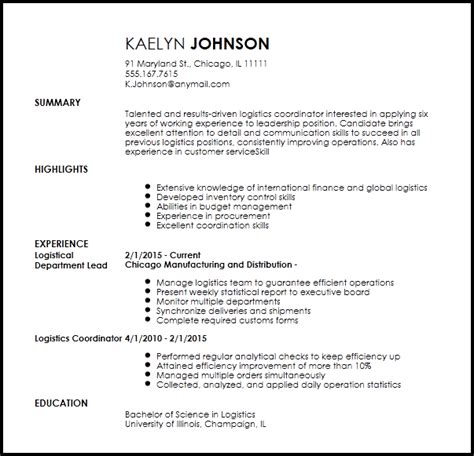 Logistics Coordinator Resume by Free Creative Logistics Coordinator Resume Template
