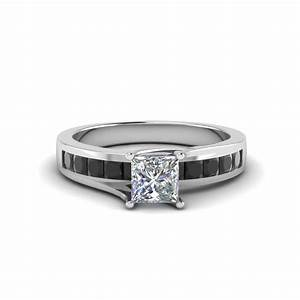 Princess Cut Channel Set Engagement Ring With Black ...
