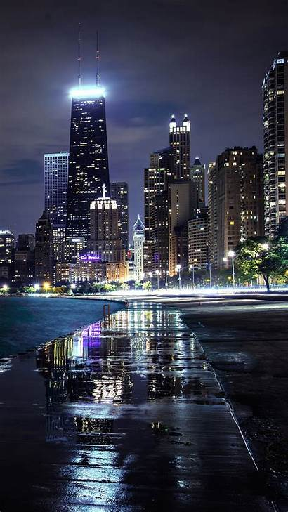 Iphone Chicago Wallpapers Usa Illinois Skyscrapers Lights