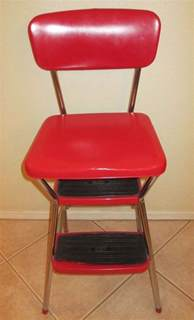 vintage 1959 cosco stylaire red kitchen chrome step stool