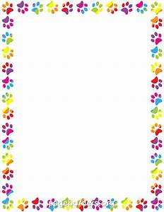 Printable rainbow paw print border. Use the border in ...