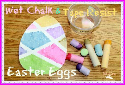 wet chalk tape resist easter egg painting  mom