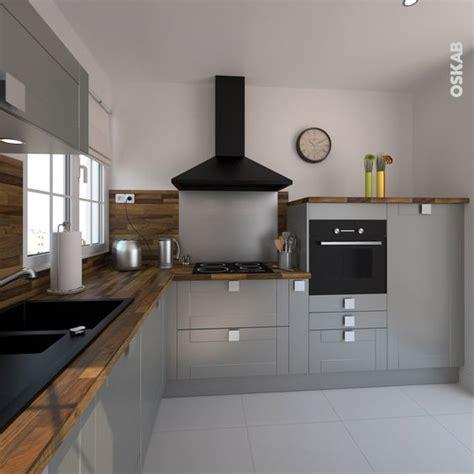 hotte pour cuisine ouverte cuisine équipée grise bois moderne filipen gris mat gris