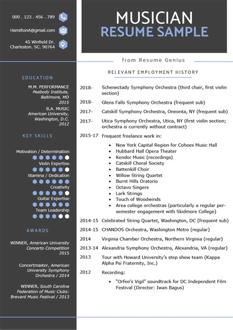Artist Resume Format by Resume Sle Writing Tips Resume Genius
