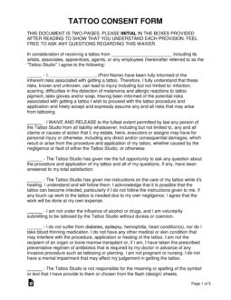 Free Tattoo & Body Piercing Consent Form - Word | PDF