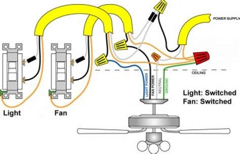 how to install ceiling fan wiring wiring a ceiling fan and light with two switches