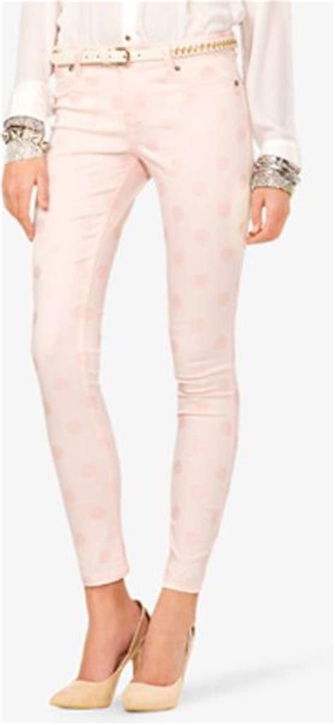 light pink skinny jeans forever 21 polka dot skinny jeans in pink light pink lyst