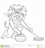 Lion Curling Cartoon Coloring Isolated Clip Dessin Fumetto Beeldverhaal Krullen Bianco Foer Children Clipart Retro Graphiques Anime Illustrationen Illustrationer Kleurplaat sketch template