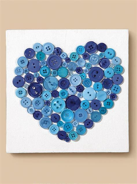 canvas  button heart diy canvas art heart button