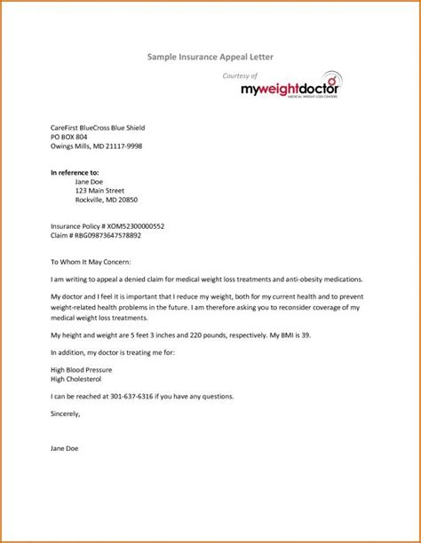 Certificate of coverage or letter from the health plan issuer showing the end date of coverage. Insurance Appeal Letter | Template Business