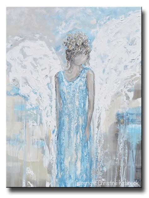 original abstract angel painting guardian angel wings blue wall decor contemporary art by