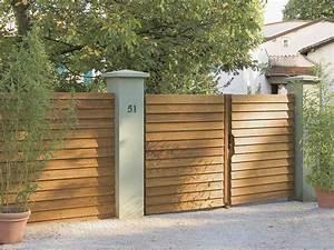 portail coulissant et battant portail bois alu leroy With fabriquer un portail de jardin en bois