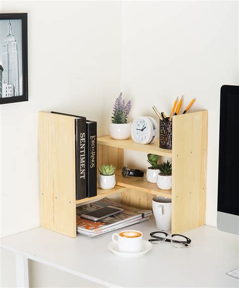 Desktop Bookcase by Adjustable Wood Desktop Storage Organizer Display