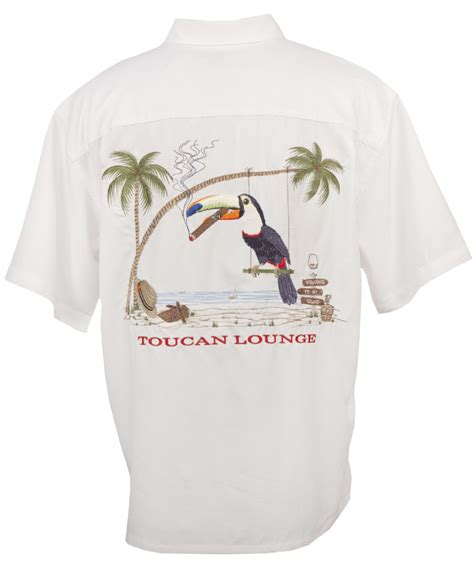 bamboo cay bamboo cay toucan lounge tropical embroidered shirt in white mens hawaiian shirts clothing