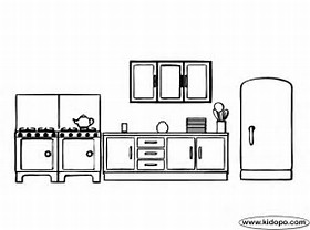 HD Wallpapers Coloring Page Kitchen