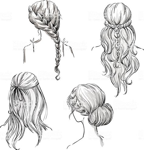 set   hairstyles hand drawn black  white
