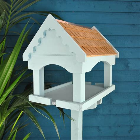 duck egg blue painted bird table by garden selections