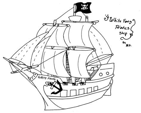 How To Draw A Pirate Boat by Pirate Ship Line Drawing Drawing Sketch Picture