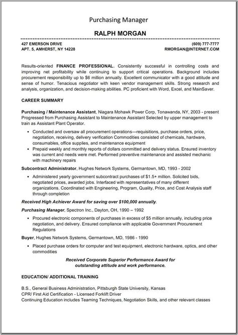 resume procurement specialist resume ideas
