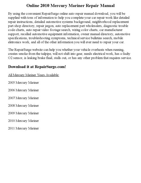 how to download repair manuals 2005 mercury mariner parking system 2010 mercury mariner repair manual online by part george issuu