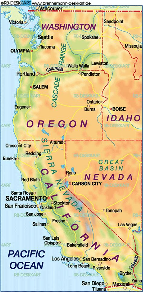 Carte Cote Ouest by Map Of West Coast Usa United States Usa Map In The