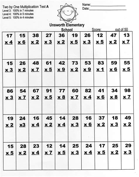 Math Worksheets Multiplication 2 Digits Multiply
