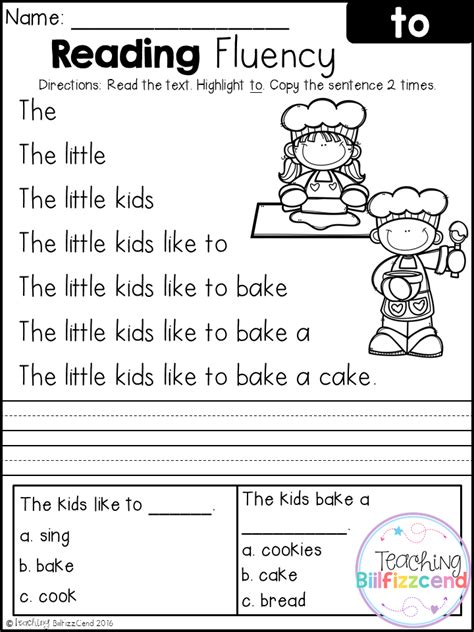 free printable reading worksheets for kindergarten and first grade free reading fluency and comprehension set 2 first