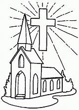 Church Coloring Pages Cross Drawing Simple Shining Helpers Printable Template Building Place Respect Sketch Comments Getcolorings Getdrawings sketch template