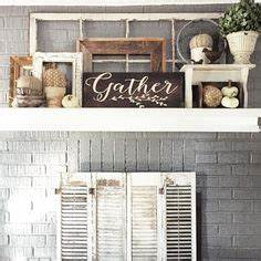 Rustic fall fireplace in neutrals falldecor