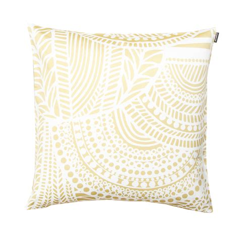 Throw Pillows by Marimekko Vuorilaakso White Gold Throw Pillow 50