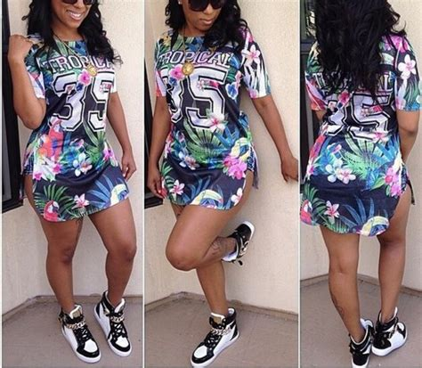 Dress jersey dress casual laid back sporty swag sneakers tropical jersey cute outfits ...