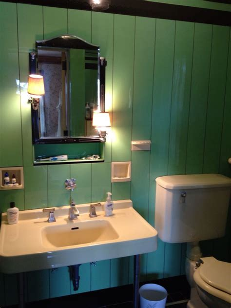 Jade Vitrolite Art Deco 1930's Bathroom with original