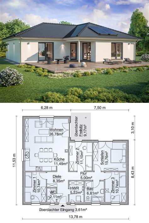 bungalow haus modern grundriss mit walmdach architektur