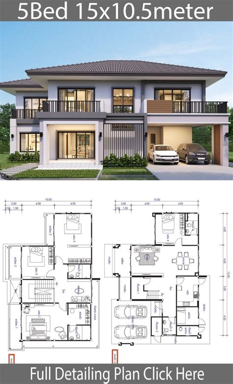 House design plan 15 5x10 5m with 5 bedrooms