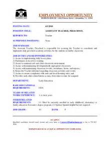 preschool resume skills preschool assistant resume exles search becoming a