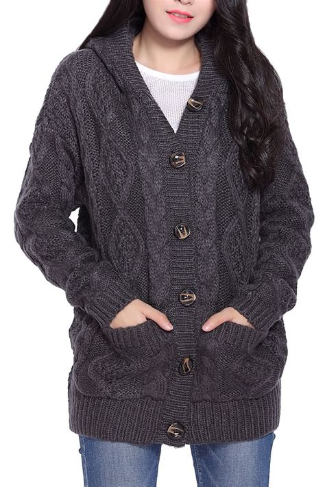 cable cardigan sweater button up cable knit hooded cardigan in gray