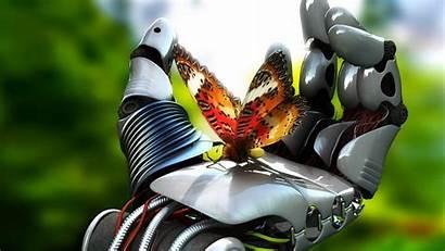 Robot Hand Butterfly 3d Hands Backgrounds Desktop