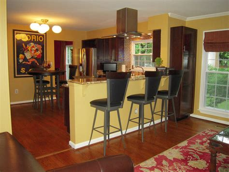 kitchen bar ideas paint colors accent wall cherry wood