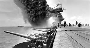 Uss Midway Flight Deck by File Damaged Uss Yorktown Cv 5 And Astoria Ca 34 At