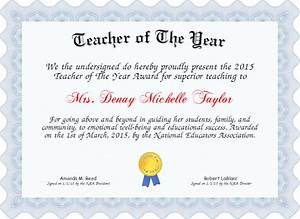 Teacher of the year certificate created with certificatefuncom for Teacher of the year certificate