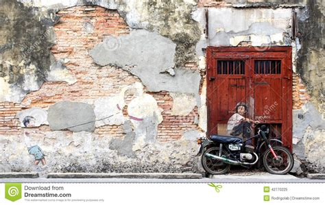 Famous Street Art Mural In George Town Penang Malaysia