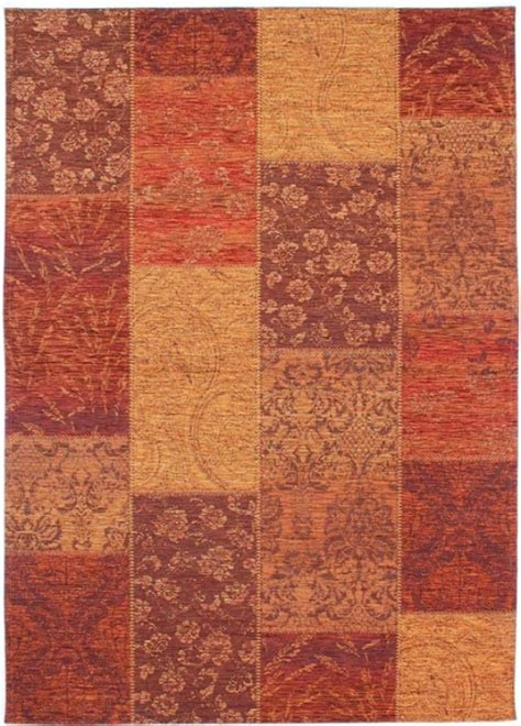 manhattan patchwork chenille terracotta rug contemporary