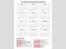 Calendario Puerto Rico Año 2019 Feriados