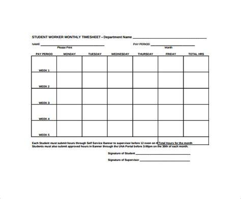 sample monthly timesheet templates  google docs