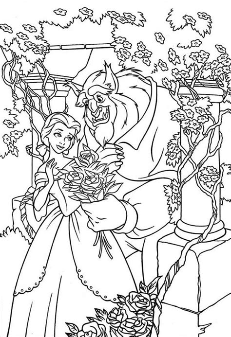 belle   beast   rose garden coloring page  print  coloring pages